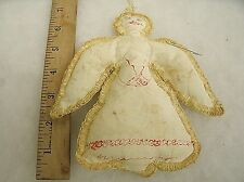 "Vintage Handmade Angel Cloth Rag Doll Christmas ornament 6.75"""