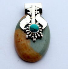 agate with turquoise pendant precious stone jewelry in 925 Silver Beautiful, New