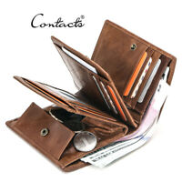 Genuine Leather Trifold Wallets for Men Travel with Rfid Blocking Card Wallet