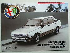 Prospetto ALFA ROMEO GIULIETTA 2.0 Super, internamente con concorrenza confronto 1982, 4s.