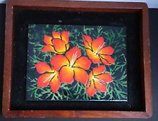 Enamel Wall Art Israel Floral Flowers Picture Signed B. M Framed Wood Israeliana