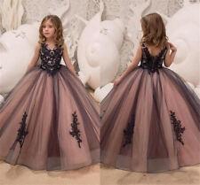 Eine Linie Blumenmädchenkleider Tüll Spitze  bodenlangen Mädchen Party Kleider