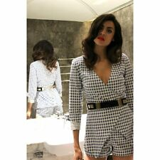"""SASS & BIDE """"new rules"""" blue white diamond playsuit outfit"""