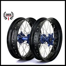 "SUPERMOTO Wheel YAMAHA YZF250 YZF450 YZ125 YZ0 BLUE Hub Black Rim 17"" 2009/2013"