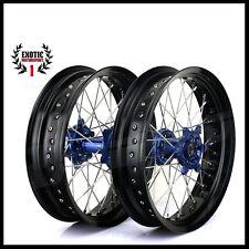 """SUPERMOTO Wheel YAMAHA YZF250 YZF450 BLUE Hub Black Rim 17"""" 2014/2015"""