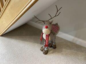 Large Brown Checked Reindeer Scandi Cute Trend Xmas Christmas Decor Large Tartan
