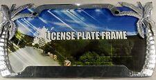 CHROME PALM TREE METAL LICENSE PLATE TROPICAL FRAME AUTO CAR TRUCK L445