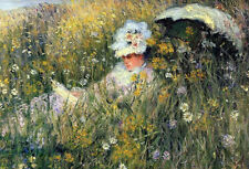 Oil painting Claude Monet - Young lady reading In the Meadow & umbrella canvas