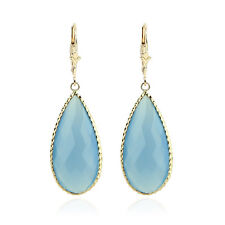 14K Yellow Gold Earrings With Pear Shaped Blue Agate