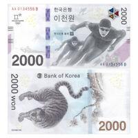 South Korea 2000 Won, 2018, P-58, Pyeongchang Winter Olympics, Banknote, UNC