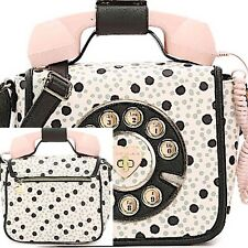 NWT Betsey Johnson Kitsch RARE Call Me Baby Phone Purse Crossbody Bag BLACK DOT