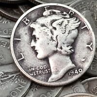 90% Silver Mercury Dimes $1 Face Value