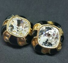 Swarovski Big Clear Crystal Clip-On Gold Plated Black Enamel Earrings Sp87