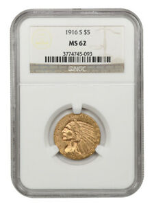 1916-S $5 NGC MS62 - Better S-Mint - Indian Half Eagle - Gold Coin