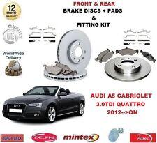 Para Audi A5 Cabrio 3.0 TDI 2012 - > Delantero + Trasero Discos De Freno & Almohadillas + Kit de montaje