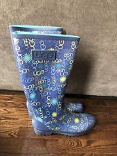Ugg Rain Boots size 10 Blue w/ Multi Logo Tall. Pre-Owned. Authentic. Free Shipp