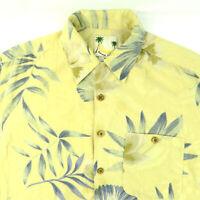 Banana Cabana L Large Yellow Mens Silk Tropical Hawaiian Style Shirt Palm Tree