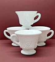 """Vintage Colony Glass """"Harvest"""" Grape Milk Glass Footed Punch/Snack Cup Set of 4"""