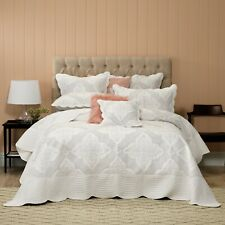 Madison White Bedspread Bianca | Intricately embroidered detailing in charcoal