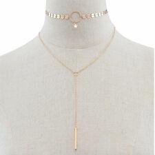 Fashion Charm Tassel Pendant Double Layer Choker Chocker Necklace Women Jewelry