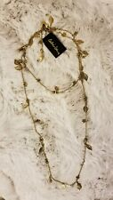 Cookie Lee Wear Long Or Doubled Necklace New Gold Color Leaves