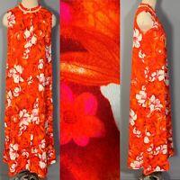 Vintage 60s Hawaiian Maxi Hostess Dress Orange Pink Floral Sleeveless Honolulu