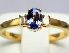 Tanzanite Solitaire with Accents 18k Engagement Rings