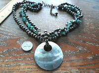 Vintage LARGE abalone shell pendant turquoise wood bead necklace HAWAII JEWELRY