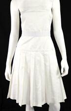 D&G DOLCE & GABBANA White Poly Blend Pleated Back-Zip Strapless Dress 44