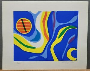 """Godfrey Leed Signed & Numbered Serigraph Abstract #1/200 10.25""""×12.75"""" 1970's"""