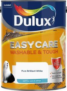 Dulux Easy Care Washable & Tough Matt Brilliant White Paint Walls Ceilings 5L