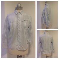 Tom Tailor Hemd Langarm Blau Weiß Gestreift Gr. M 152 Taschen Bestickt 1A