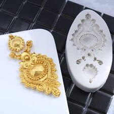 3D Vintage Joya Broche Silicona Molde Pastel Decoración Fondant Sugarcraft Topper