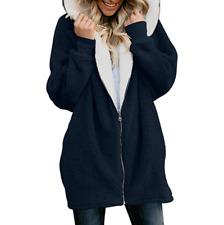 Womens Teddy Bear Fur Coats Jackets Hooded Fleece Winter Warm Jacket Zip Outwear