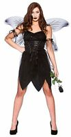 Adult BAD FAIRY Ladies Halloween Angel Costume Wand Fancy Dress UK Sizes 6-20