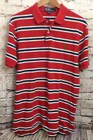 Polo Ralph Lauren Mens Red & Blue Striped Short Sleeve Casual Button Up Shirt LG