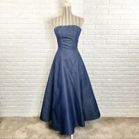 A.B.S. Evening Allen Schwartz Denim Formal Dress Size 2 Prom Dress