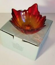 Partylite Glass Indian Summer Ball Candle Holder Leaf Red Yellow