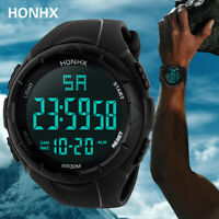 Digitale LED Sportuhr Wasserdicht Silikon schwarz Outdoor Armbanduhr Digital
