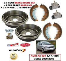 REAR BRAKE DRUMS SHOES + 2x CYLINDERS for AUDI A2 8Z0 1.4 1.4TDi 75bhp 2000-2005