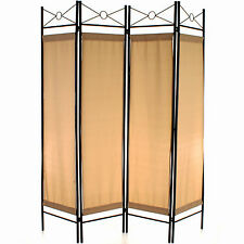 4 Panel Room Divider Screen Privacy Wall Movable Partition Folding Separator Cream/beige
