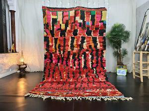 "Boujad Handmade Moroccan Vintage Rug 5'2""x8'9"" Berber Abstract Red Wool Carpet"