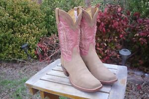 Women's 6.5 B M Tony Lama Tan Nubuck & Pink Square Toe 1076-L Cowboy Boots
