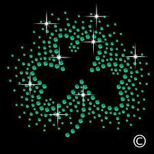 Irish Clover Rhinestone Diamante Motif T Shirt Transfer Iron On Hotfix Gem