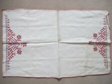1920s 1930s  ART DECO EMBROIDERED LINEN TRAY CLOTH 25 x15 INS 63x38 CMS