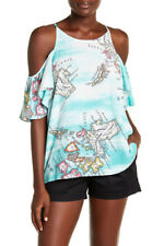 Nwt Natori Women's Turquoise Printed Challis Cold Shoulder Top Size S-$225