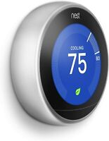 Nest 3rd Generation Learning Stainless Steel Programmable Thermostat: NO BASE  D