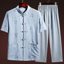 Mens Ethnic T-Shirt Summer Tang Suit Kung Fu Dad Loose short Sleeve Pants Casual