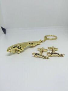 Officials Jaguar LEAPING Cufflinks set 24ct GP Gold luxurious Gift Box 📦