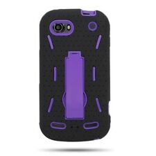 ZTE  Warp 2 N861 Sequent Case Purple Black Hybrid Kickstand Armor Skin Cover